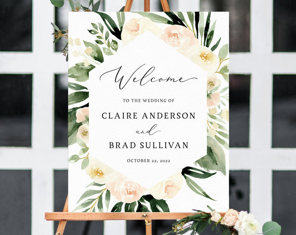 Peach Floral Wedding Welcome Sign Template, Welcome to the Wedding Printable, Blush & Ivory Welcome Board, Instant Download, Templett, W41