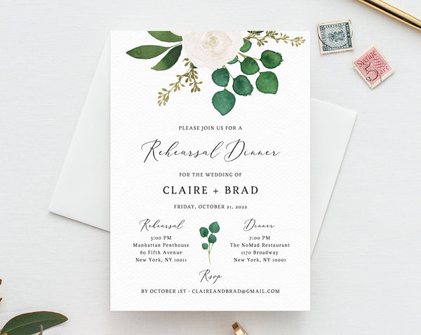 Rehearsal Dinner Invitation Template, Greenery Wedding Rehearsal Invitation, Printable The Night Before Rehearsal Invite, Templett, W42