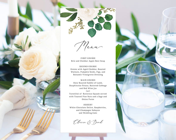 White Floral Wedding Menu Template, Printable Wedding Dinner Menu, Eucalyptus Wedding Menu Card, Instant Download, Templett, W42