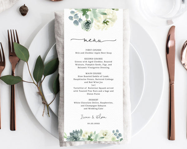 Succulent Wedding Menu Template, Printable Menu, Editable Wedding Menu, Succulent Greenery Wedding Menu, DIY Wedding Menu, Templett, W40