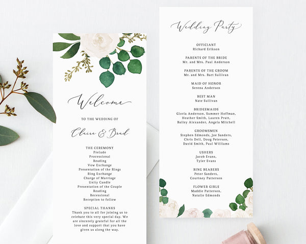 White Floral Wedding Program Template, Printable Eucalyptus Wedding Program, Order of Service, Editable Ceremony Programs, Templett, W42