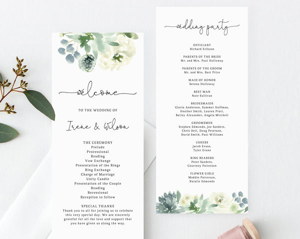 Succulent Wedding Program Template, Printable Wedding Program, Order of Service, Editable Ceremony Programs, Templett, W40