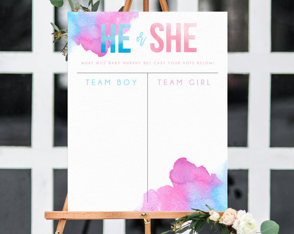 Gender Reveal Sign Template, Boy or Girl Chart, Gender Reveal Decor, Gender Reveal Banner, Blue or Pink Chart Sign Printable, Templett, B14