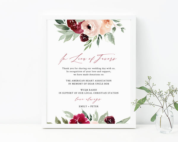 Burgundy & Blush In Lieu of Favors Sign Template, Burgundy Floral In Lieu of Favors Sign, Editable Wedding Donation Sign, Templett, W45