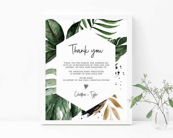 Tropical Leaves In Lieu of Favors Sign Template, Tropical In Lieu of Favors Sign, Editable Wedding Donation Sign, Palm Leaves, Templett, W44