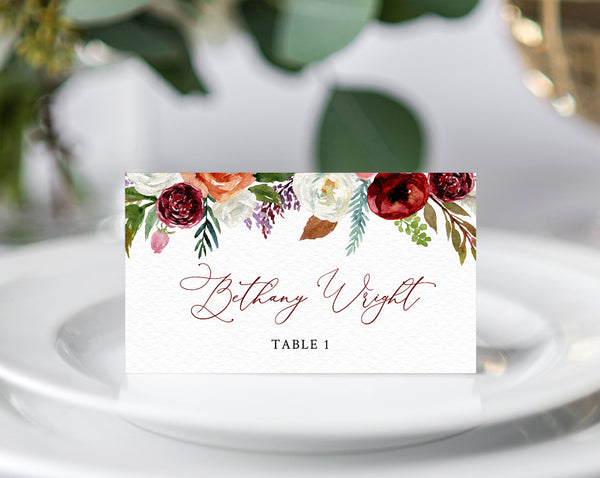 Boho Wedding Place Cards Template, Burgundy Floral Escort Card, Printable Wedding Tent Cards, Instant Download, Templett, W43
