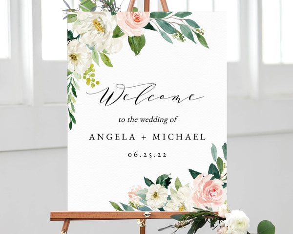 photograph relating to Welcome Sign Template named Blush Floral Wedding ceremony Welcome Indicator Template, Welcome in direction of the Marriage ceremony Printable, Blush Welcome Board, Quick Down load, Templett, W29