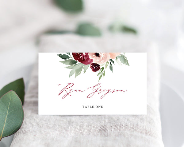 Burgundy and Blush Wedding Place Cards Template, Seating Card, Wedding Escort Cards, Printable Tent Cards, Instant Download, Templett, W45