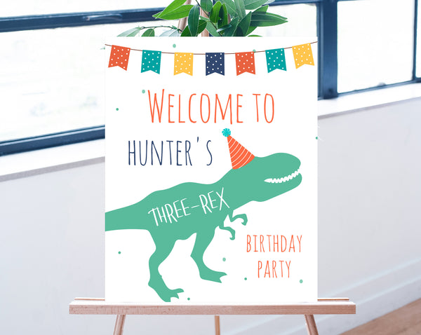 Dinosaur Welcome Sign Template, Printable Three-Rex Themed Party Welcome Sign, Editable Three-Rex Birthday Welcome Signs, Templett, B12