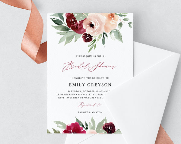 Burgundy Bridal Shower Invitation Template, Printable Bridal Shower Invite, Burgundy and Blush Floral Bridal Shower Invites, Templett, W45