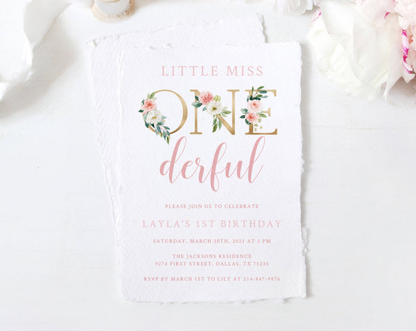 Miss Onederful Invitation Template, Printable Miss Onederful Invitations, One-derful First Birthday Invite, Instant Download Templett, B09