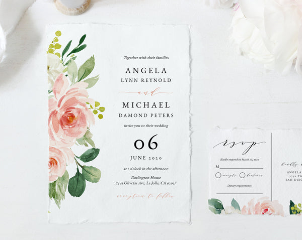 Wedding Invitation Template, Printable Wedding Invitation Suite, Blush Flowers Wedding Invitation Set, Floral Wedding, Templett, W29C
