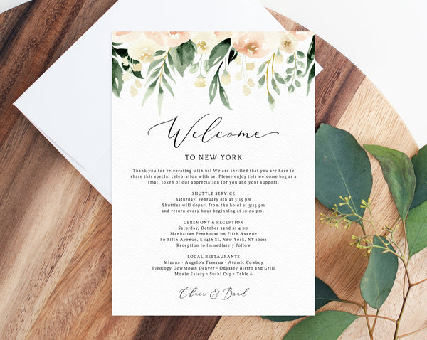 Blush Welcome Letter Template, Wedding Itinerary Card, Welcome Bag Letter, Wedding Agenda, Printable Hotel Welcome Note, Templett, W41