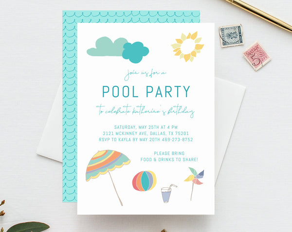 Pool Party Invitation Template, Printable Birthday Pool Party Invite, Editable Pool Party Bachelorette Invite, Templett