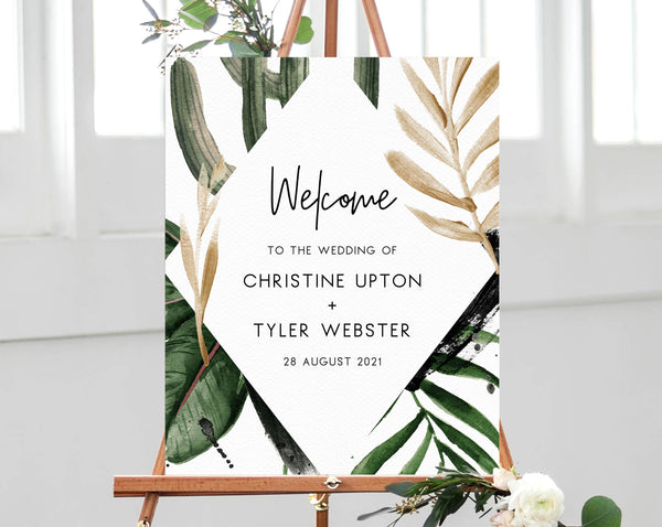 Tropical Wedding Welcome Sign Template, Welcome to the Wedding Printable, Welcome to our Wedding Board, Instant Download, Templett, W44