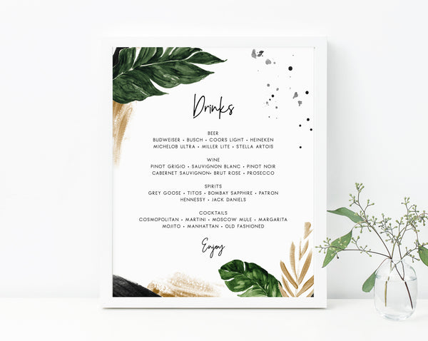 Tropical Bar Menu Sign, Wedding Bar Sign, Wedding Bar Menu Printable, Palm Drink Menu Sign, Drinks Sign, Reception Decor, Templett, W44