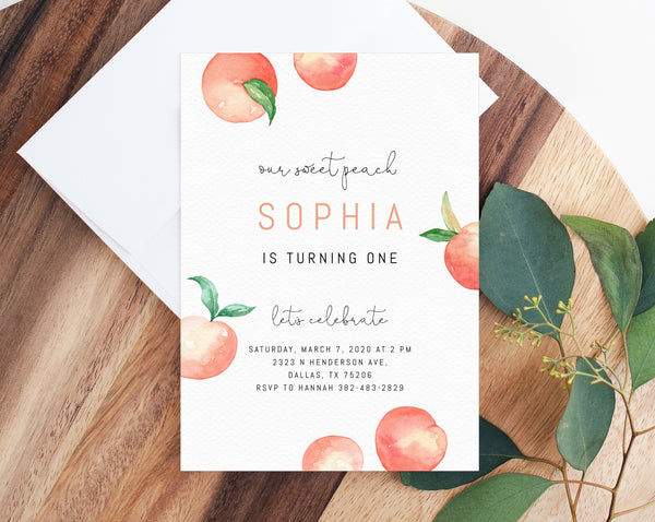 Peach First Birthday Invitation Template, Printable Sweet Peach Invitations, Peaches and Cream First Birthday Invite, Templett, B15
