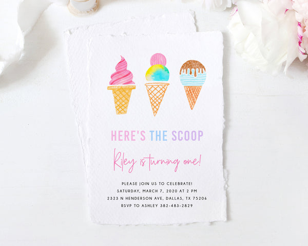 Ice Cream Party Invitation Template, Printable Ice Cream Birthday Invite, Here's The Scoop Invitation, Instant Download, Templett