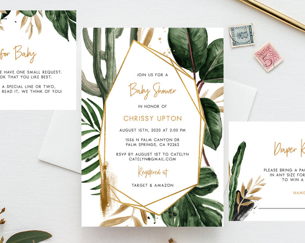 Tropical Baby Shower Invitation Template, Printable Baby Shower Invite, Palm Leaves Baby Shower Invitation, Editable Template, Templett, B44