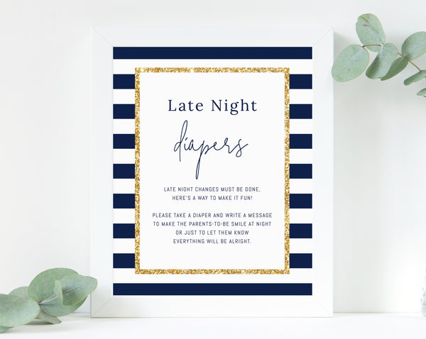 Printable Late Night Diapers Sign Template, Navy Stripes with Gold Baby Shower Game, Diaper Notes, Instant Download, Templett, B03