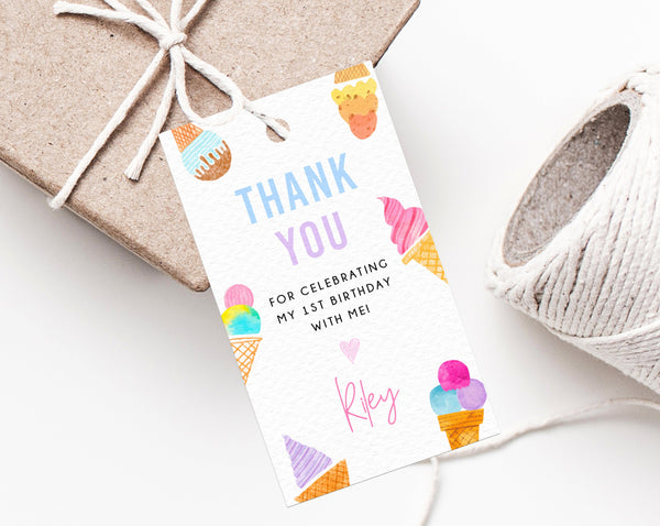 Ice Cream Party Favor Tag Template, Thank You Tag, Ice Cream Birthday Party Favor Tag, Gift Tag, Editable Favor Label Printable, Templett