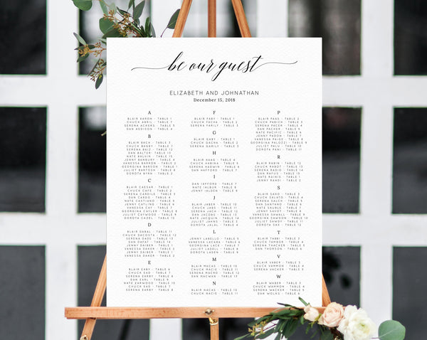 Be Our Guest Alphabetical Wedding Seating Chart Template, Seating Chart Printable, Table Chart, Seating Board, Wedding Sign, Templett, W02