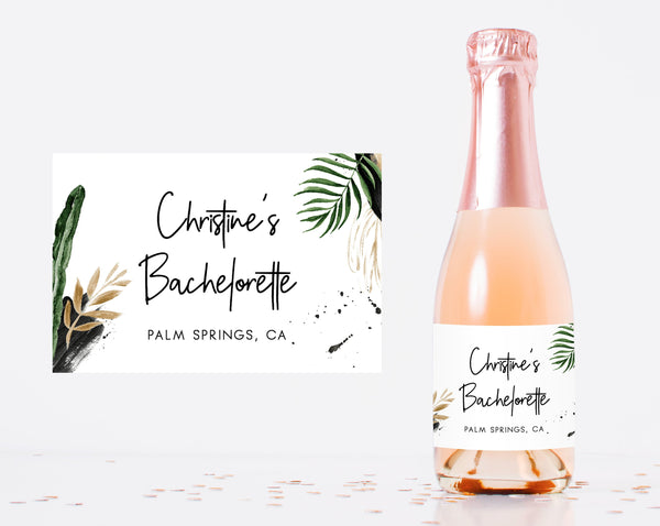 Mini Champagne Bottle Label Template, Tropical Bachelorette Mini Champagne Sticker, Instant Download Editable Label Template, Templett, W44