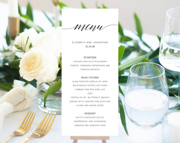 INSTANT DOWNLOAD Wedding Menu Template, Printable Menu, Editable Wedding Menu, Modern Wedding Menu, DIY Wedding Menu, Templett, W02