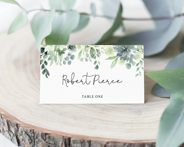 INSTANT DOWNLOAD Succulent Wedding Place Cards, Greenery Escort Card, Wedding Seating Cards, Table Decor, Instant Download, Templett, W40