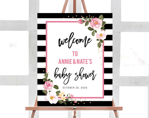 Stripes Baby Shower Welcome Sign Template, Printable Black and White  Stripes with Pink Baby Shower Welcome Sign, Templett