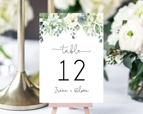 Succulent Wedding Table Number Template, Printable Succulent Greenery Wedding Table Numbers, Wedding Centerpiece, Templett, W40