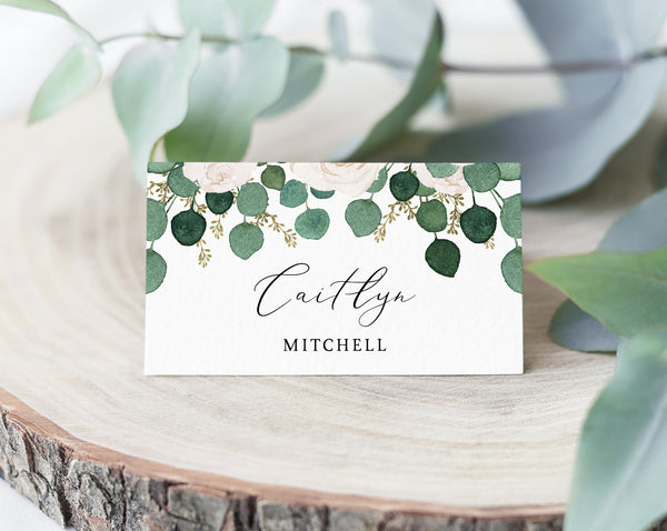 White Floral Wedding Place Cards Template, Eucalyptus Escort Card, Wedding Table Cards, Printable Wedding Tent Cards, Instant Download, W42