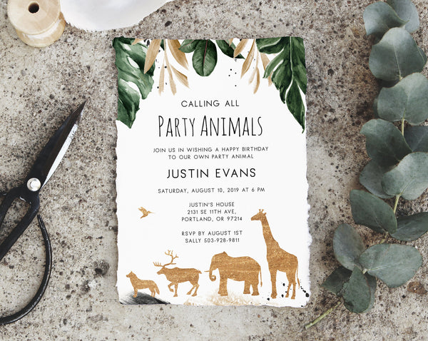 Party Animals Invitation Template, Printable Animals Themed Birthday Invite, Zoo Safari Animals Invitation, Instant Download, Templett