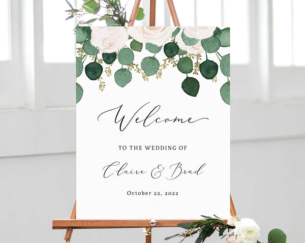 photograph regarding Printable Welcome Sign titled Eucalyptus White Floral Wedding day Welcome Signal Template, Welcome in the direction of the Marriage ceremony Printable, Welcome Board, Quick Down load, Templett, W42