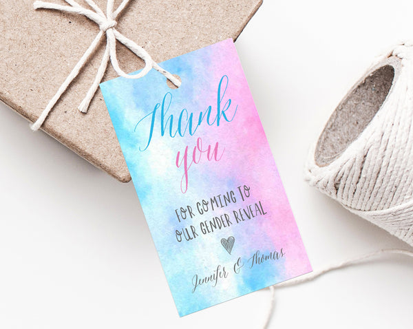 Gender Reveal Favor Tag Template, Thank You Tags, Blue or Pink Gift Tag, Baby Shower Favor Label Printable, Instant Download