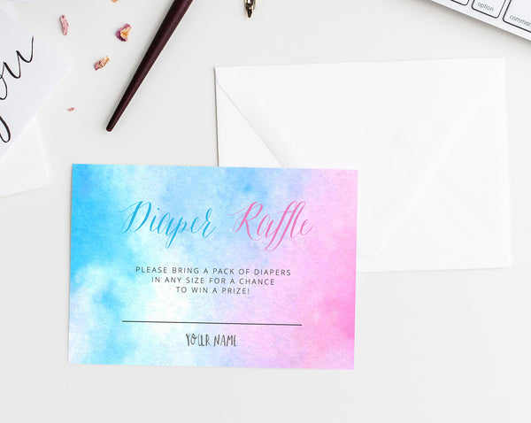Gender Reveal Diaper Raffle Template, Gender Reveal Invitation Insert, Blue or Pink Raffle Card, Enclosed Card Template, Templett