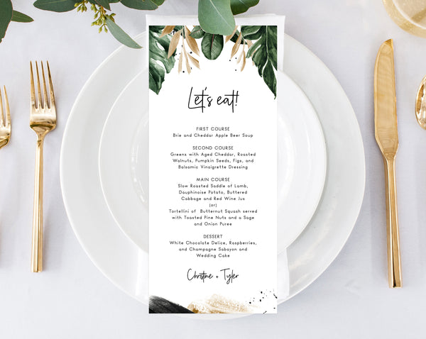 Tropical Wedding Menu Template, Printable Wedding Menus, Palm Leaves Wedding Menu, Instant Download Editable Template, Templett, W44