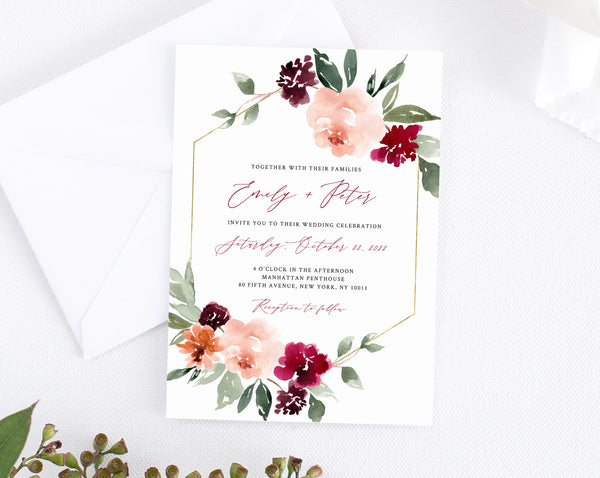 graphic about Printable Wedding Card named Burgundy Wedding day Invitation Template, Printable Marriage Invitation Suite, Burgundy Floral Wedding ceremony Invitation Preset, Templett, W45
