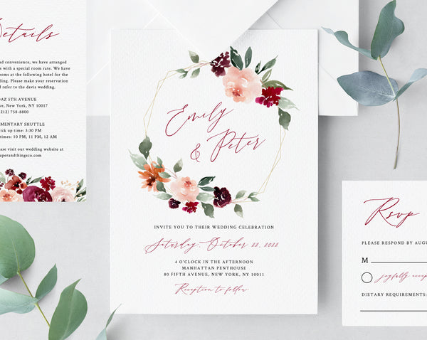 Burgundy Wedding Invitation Template, Printable Wedding Invitation Suite, Burgundy Floral Wedding Invitation Set, Templett, W45