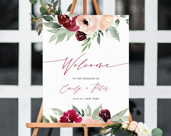 Burgundy & Blush Floral Wedding Welcome Sign Template, Welcome to the Wedding Printable, Welcome Board, Instant Download, Templett, W45