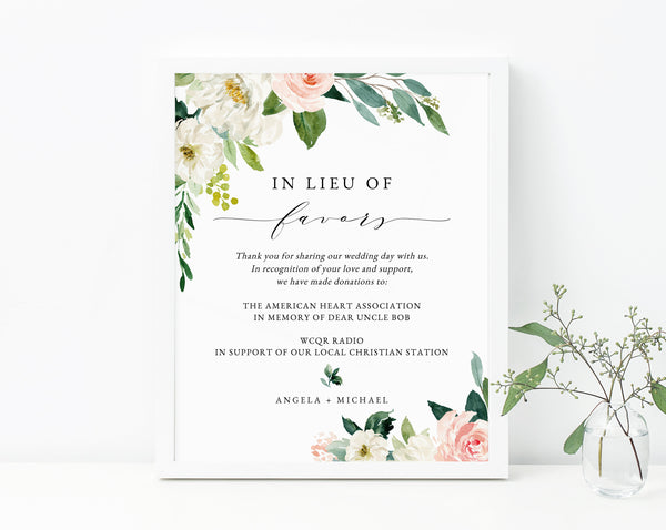 Blush In Lieu of Favors Sign Template, Floral In Lieu of Favors Sign, Editable In Lieu of Favors Sign, Wedding Donation Sign, Templett, W29
