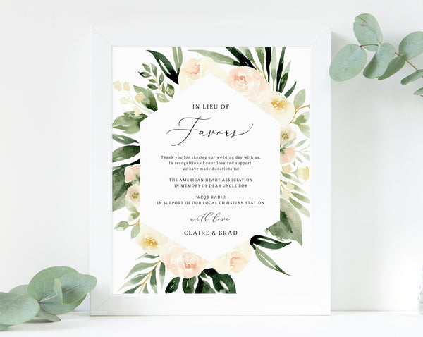 Peach Floral In Lieu of Favors Sign Template, Blush Floral In Lieu of Favors Sign, Editable Wedding Donation Sign, Templett, W41