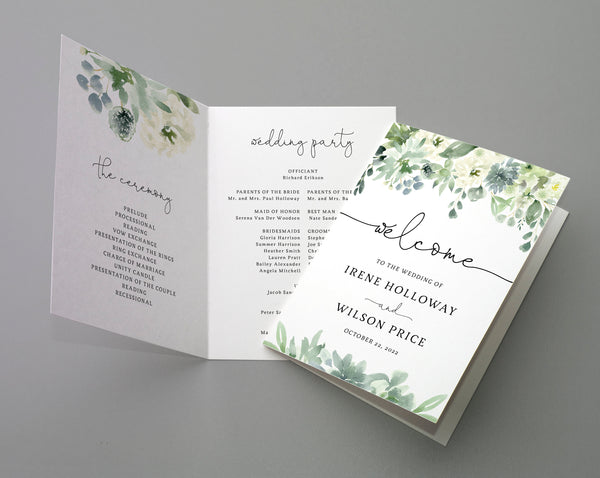 Bi-Fold Succulent Greenery Wedding Program Template, Printable Folded Wedding Program Booklet, Book Fold Order of Ceremony, Templett, W40