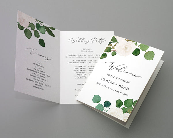 Bi-Fold Greenery Wedding Program Template, Printable Folded Wedding Program Booklet, Book Fold Order of Ceremony, Templett, W42