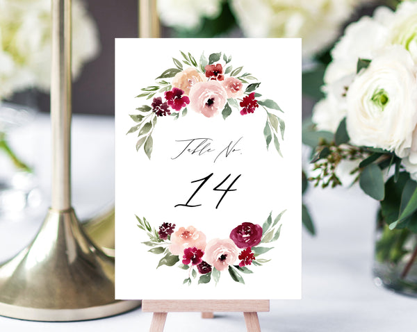 Burgundy Floral Wedding Table Number Template, Printable Rose Wedding Table Numbers, Floral Table Numbers Card Template, Templett, W45