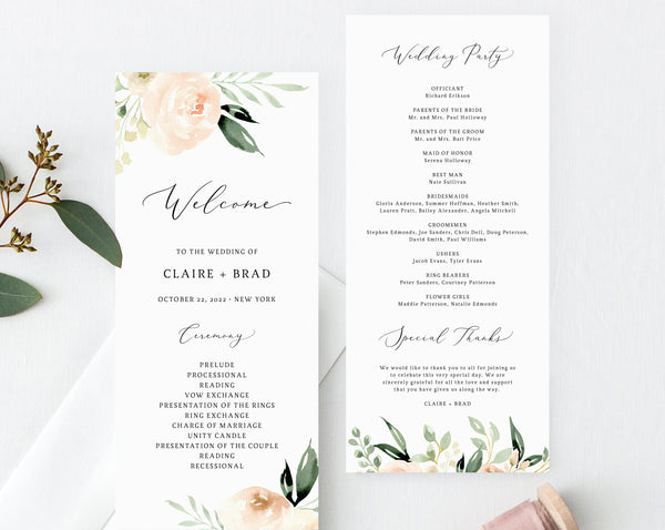 Peach & Ivory Floral Wedding Program Template, Printable Wedding Program, Blush Wedding Program, Order of Service, Instant, Templett, W41