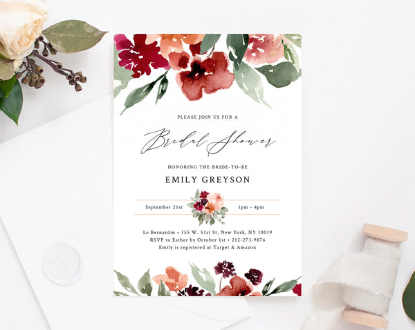 Burgundy Bridal Shower Invitation Template, Fall Bridal Shower Invite, Burgundy and Blush Floral Bridal Shower Invites, Templett, W45