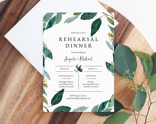 Rehearsal Dinner Invitation Template, Greenery Wedding Rehearsal Invitation, Printable The Night Before Rehearsal Invite, Templett, W28