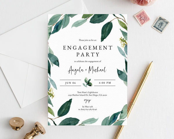 Greenery Engagement Party Invitation Template, Printable Engagement Invitation, Engagement Invite, Editable Template, Templett, W28
