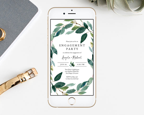 Greenery Engagement Party Electronic Invitation Template, Mobile Engagement Invitation, Phone Invite, Editable Template, Templett, W28